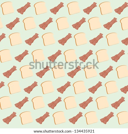 bread and bacon seamless pattern - stock vector