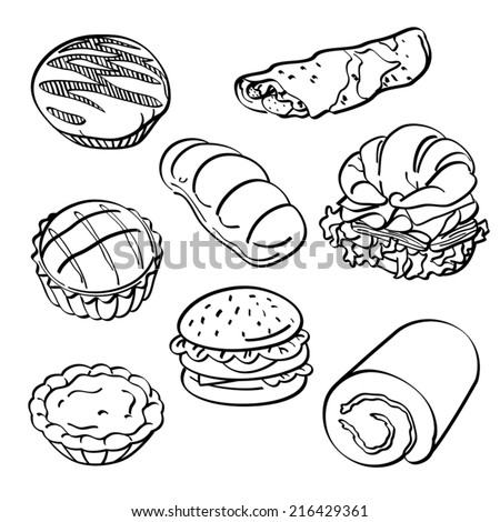 Bread and cake Collection  - stock vector