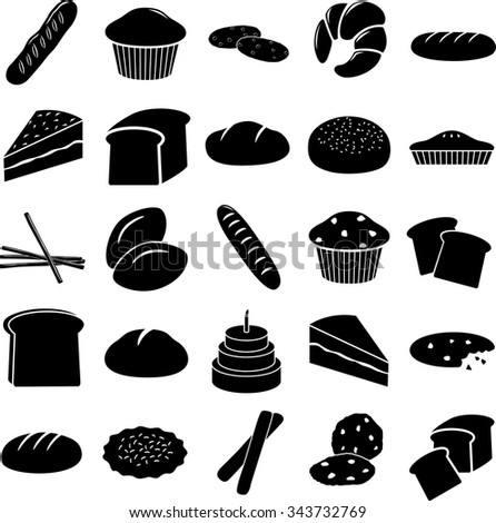 bread and other baked goods symbols set - stock vector