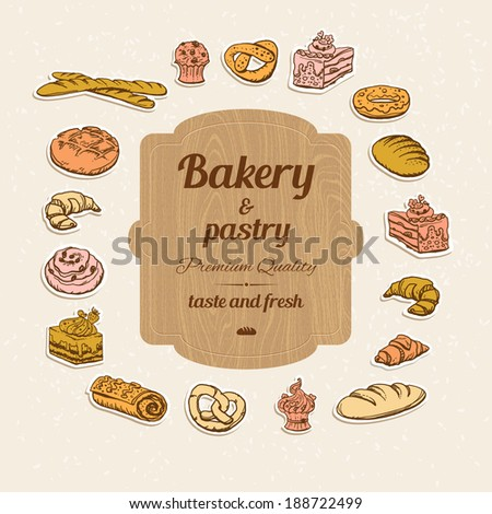 Bread and pastry set of design elements