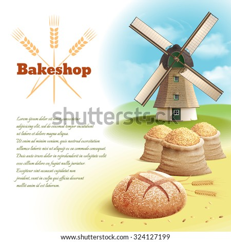 Bread background with old style country windmill and wheat harvest vector illustration - stock vector