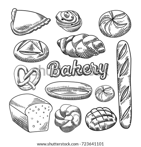 bread doodle meat products sketch vector icons isolated stock vector 1863