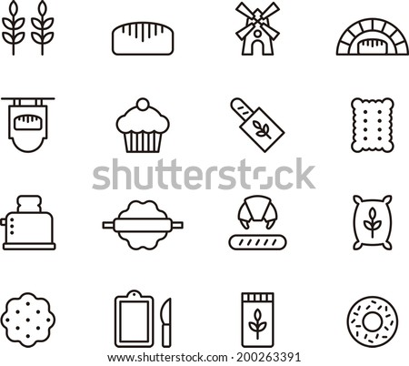 Bread & Bakery icons - stock vector