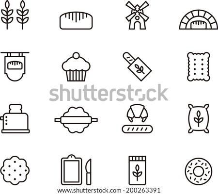 Bread & Bakery icons - stock vector