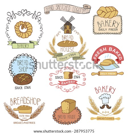 Bread bakery.Vintage Retro Bakery Badges,Labels,logos.Colored hand sketched doodles design elements (bread, loaf, wheat ear, cake icons). Vector logotypes,stickers for bread shop,pastries house