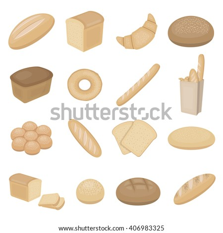 Bread icons set. - stock vector