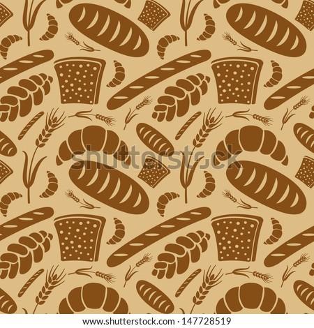 bread seamless pattern - stock vector