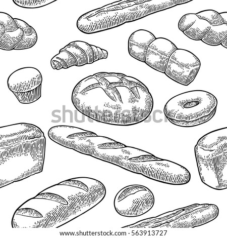 Bread Seamless Pattern Bun Croissant Loaf Stock Vector 563913727