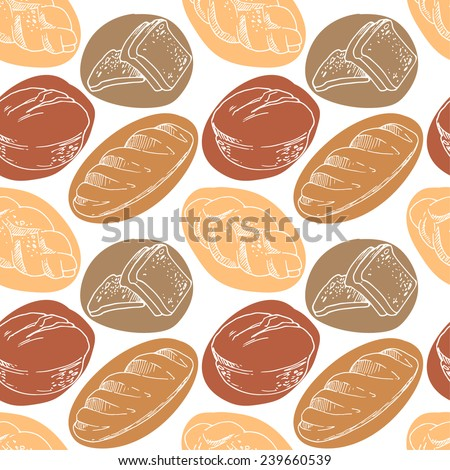 Bread, seamless pattern with bakery products.