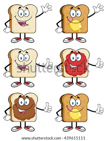 Bread Slice Cartoon Mascot Characters. Vector Illustration Isolated On White Background Collection Set 1 - stock vector
