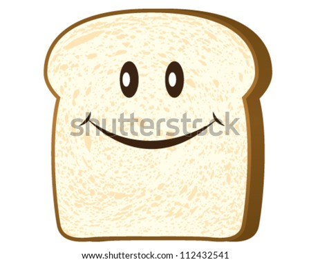 Bread slice isolated on white, vector - stock vector