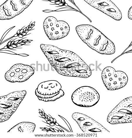 Bread Vintage hand drawn style bakery set. seamless pattern vector illustration