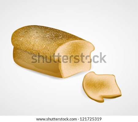 Bread with Slice - stock vector