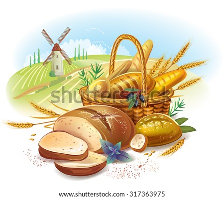 Breads in basket against country landscape - stock vector