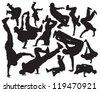 break dance vector silhouettes - stock photo