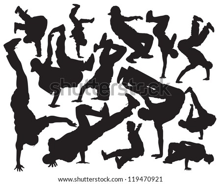 break dance vector silhouettes - stock vector