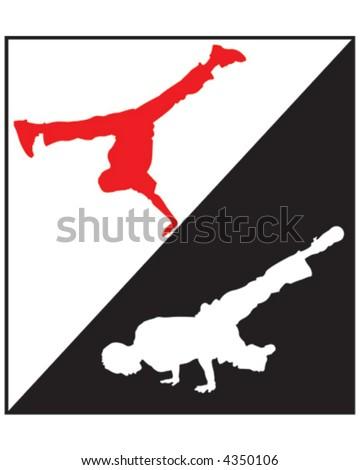Break Dancing Silhouette - stock vector