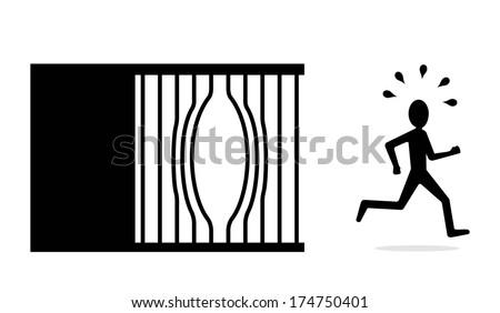 break free concept, jailbreak, escape from jail  - stock vector
