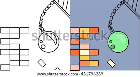 Break the wall. Metal ball. Destruction. Vector illustration  - stock vector