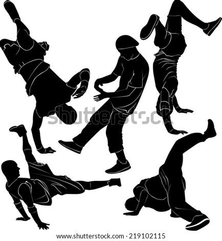 breakdance break dance - stock vector