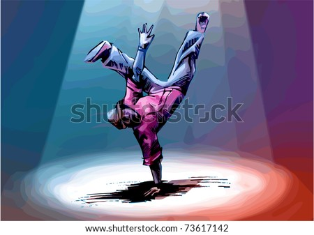 """Breakdancer is standing in a """"freeze"""". Hand drawn artwork. - stock vector"""
