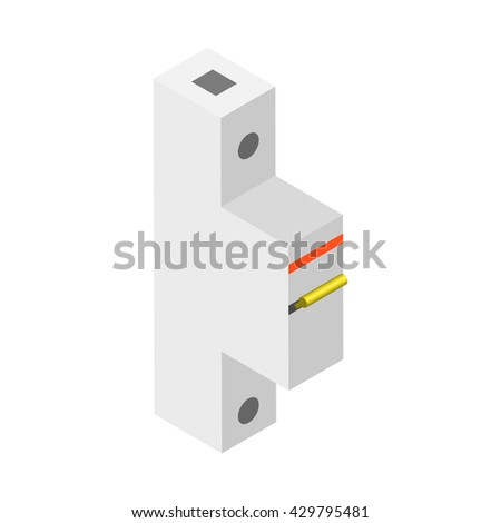 breaker, vector illustration. The circuit breaker for your home. Automatic circuit breaker isolated on white background. - stock vector