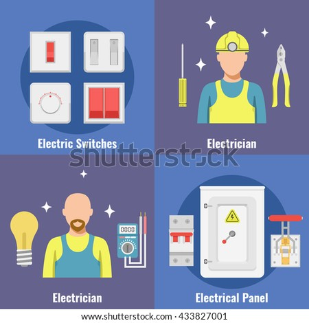 Breakers set switch vector flat, fuse vector, electric box, circuit breakers, electrical panel, switch with wires, Professional electrician icon. Equipment and tools electrician. - stock vector