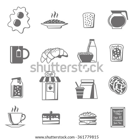 Breakfast black white icons set with croissants tea and jam flat isolated vector illustration
