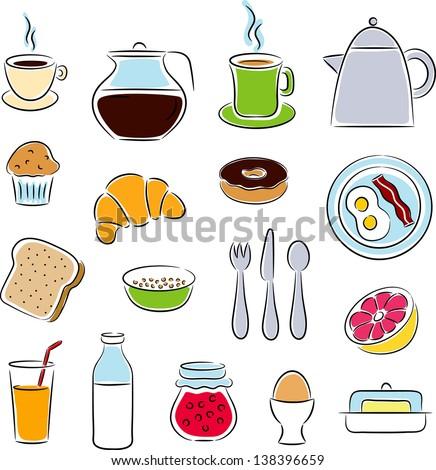 Breakfast Clip Art Icons - stock vector