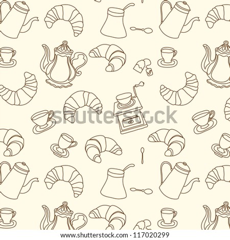 Breakfast croissant seamless doodle vector pattern hand drawn - stock vector