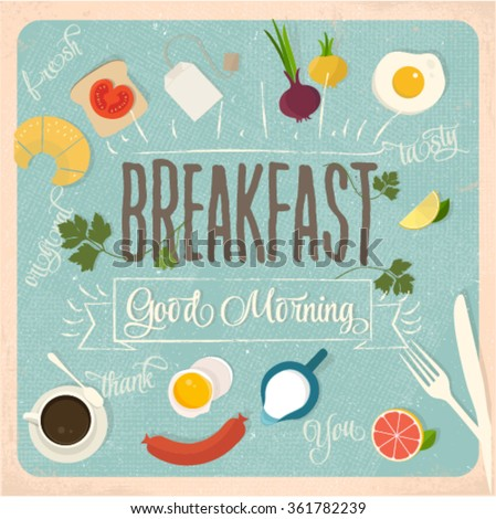 Breakfast design set - stock vector