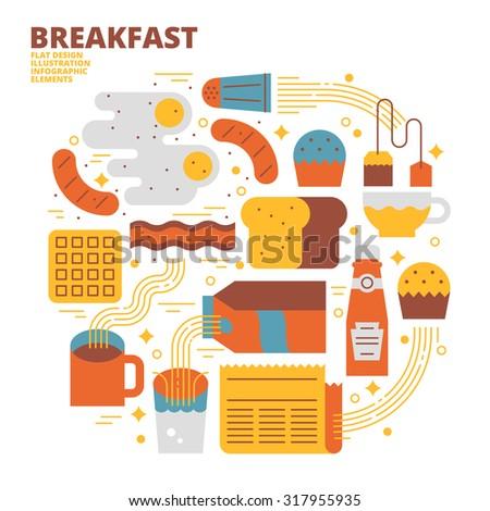 Breakfast, Flat Design, Illustration - stock vector