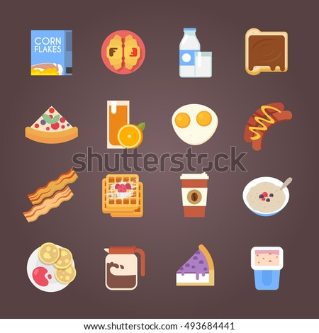 Breakfast flat icons. Corn flakes, cereal, juice, milk, coffee, eggs, cake, sausages, pancakes, bacon. Vector illustration.
