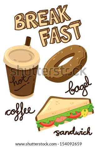 breakfast food and drink - stock vector