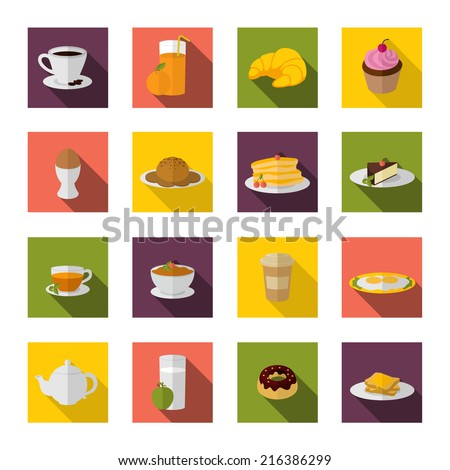 Breakfast food and drink icon flat set with bacon and eggs pancakes isolated vector illustration - stock vector