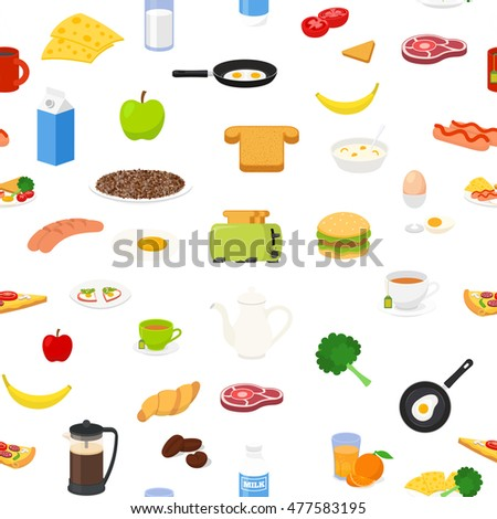 Breakfast food and drinks seamless pattern. Good for backgrounds, fabric, kitchen and cafe stuff.