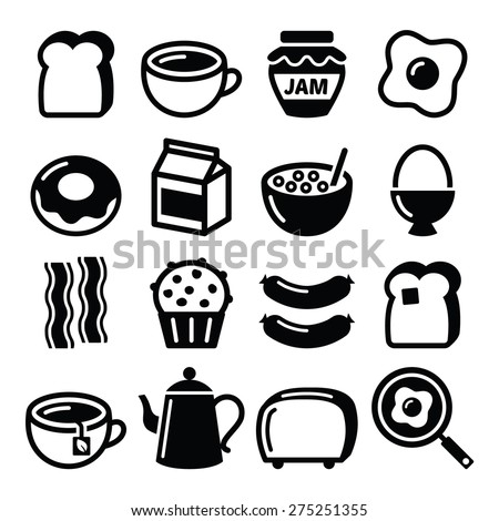 Breakfast food vector icons set. Toast, eggs, bacon, coffee.