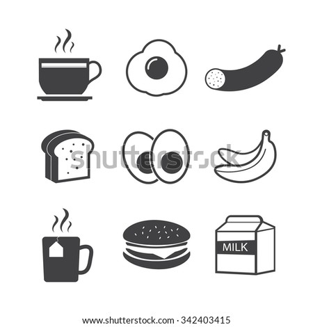 Breakfast fresh food and drinks black icons set  - stock vector