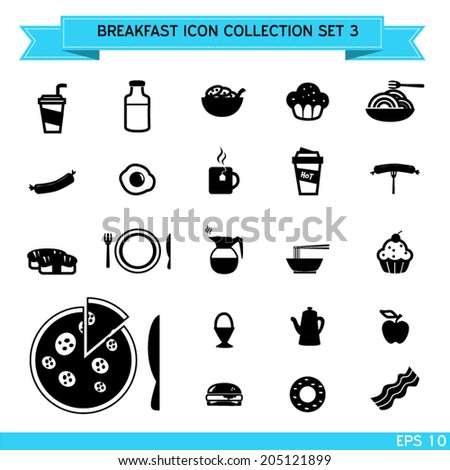 Breakfast icon collection, vector design