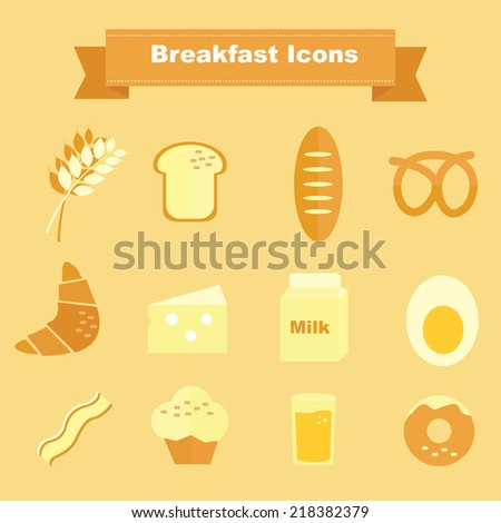 Breakfast Icons and cooking ingredients