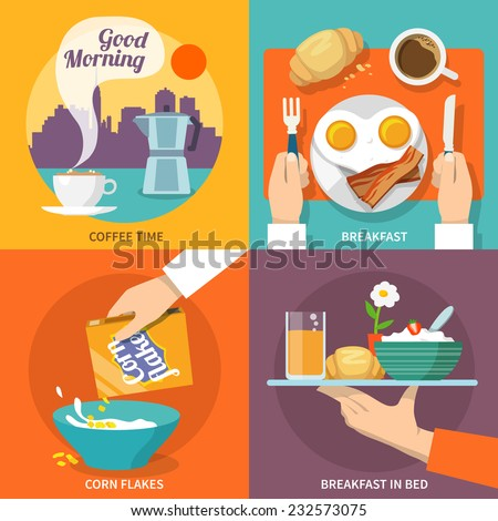 Breakfast icons flat set with coffee time corn flakes bed isolated vector illustration - stock vector