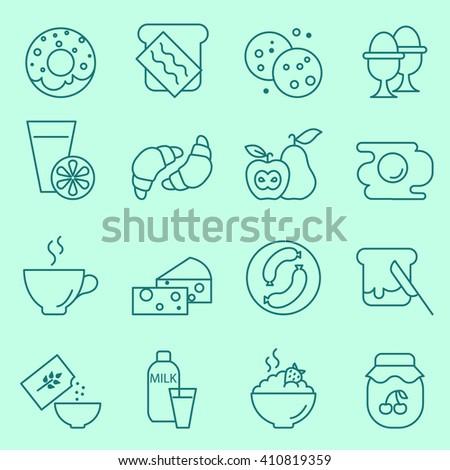 Breakfast icons, thin line, flat design - stock vector