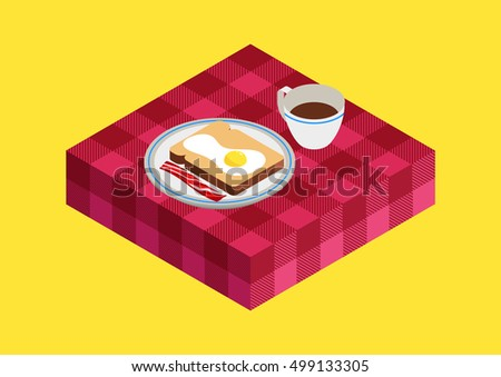 breakfast isometric design