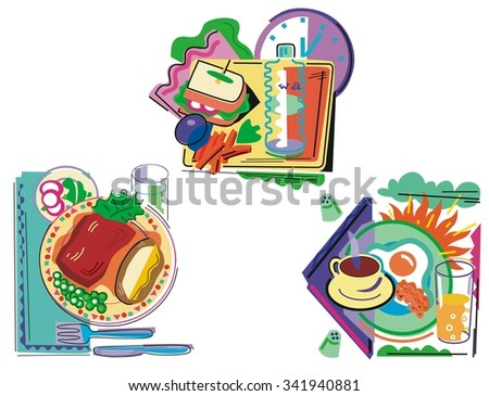 Breakfast, lunch, and dinner.  Graphics for menu or cookbook. - stock vector