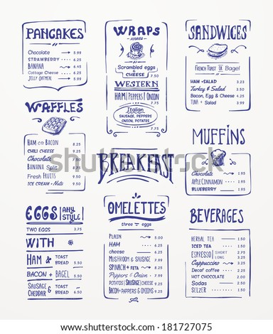 Breakfast menu. Blue pen drawing - stock vector