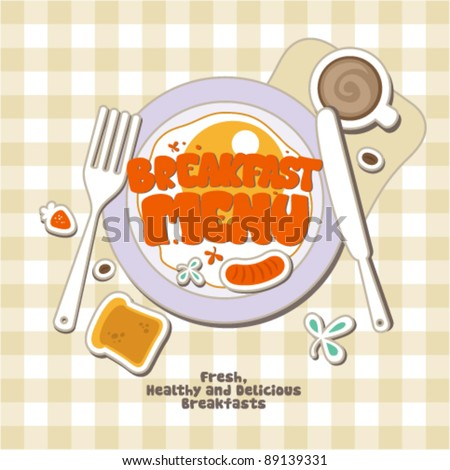Breakfast Menu Card Design Template Vector 89139331 – Breakfast Menu Template