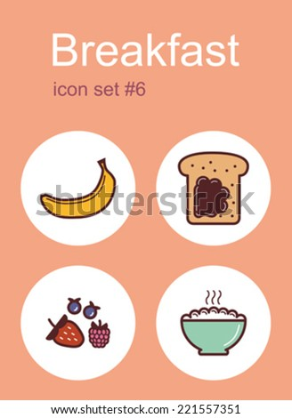 Breakfast menu food and drink icons. Set of editable vector color illustrations. - stock vector