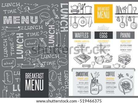 Breakfast menu placemat food restaurant brochure, template design. Vintage creative dinner flyer with hand-drawn graphic.
