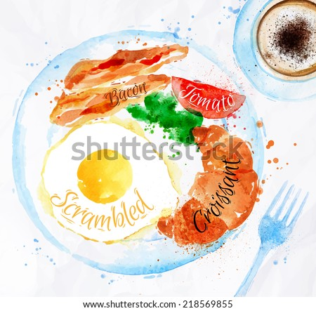 Breakfast painted with watercolors on a plate eggs bacon lettuce tomato a cup of coffee with a fork - stock vector