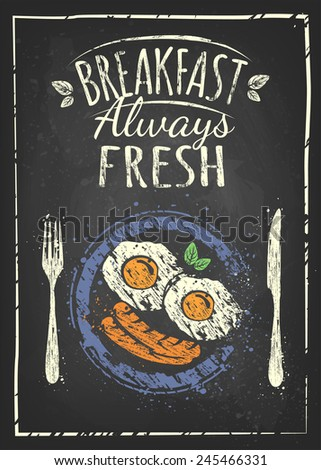 Breakfast Poster. Fried egg and sausage on blue plate. Vector illustration. Breakfast always fresh - stock vector
